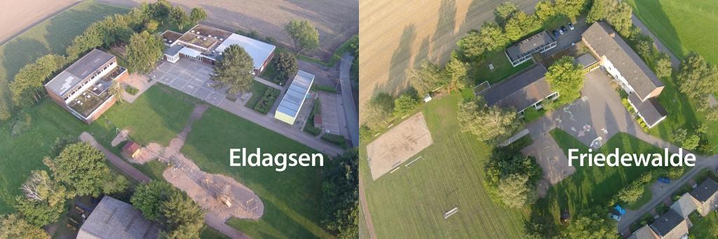 Die Grundschulen Eldagsen (l.) und Friedewalde. FOTOS/MONTAGE: JÜRGEN KRÜGER