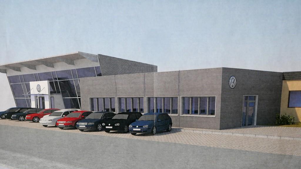 Autohaus Meier: Umbau der alten Lagerhalle zum Bürogebäude im Frühjar 2016.