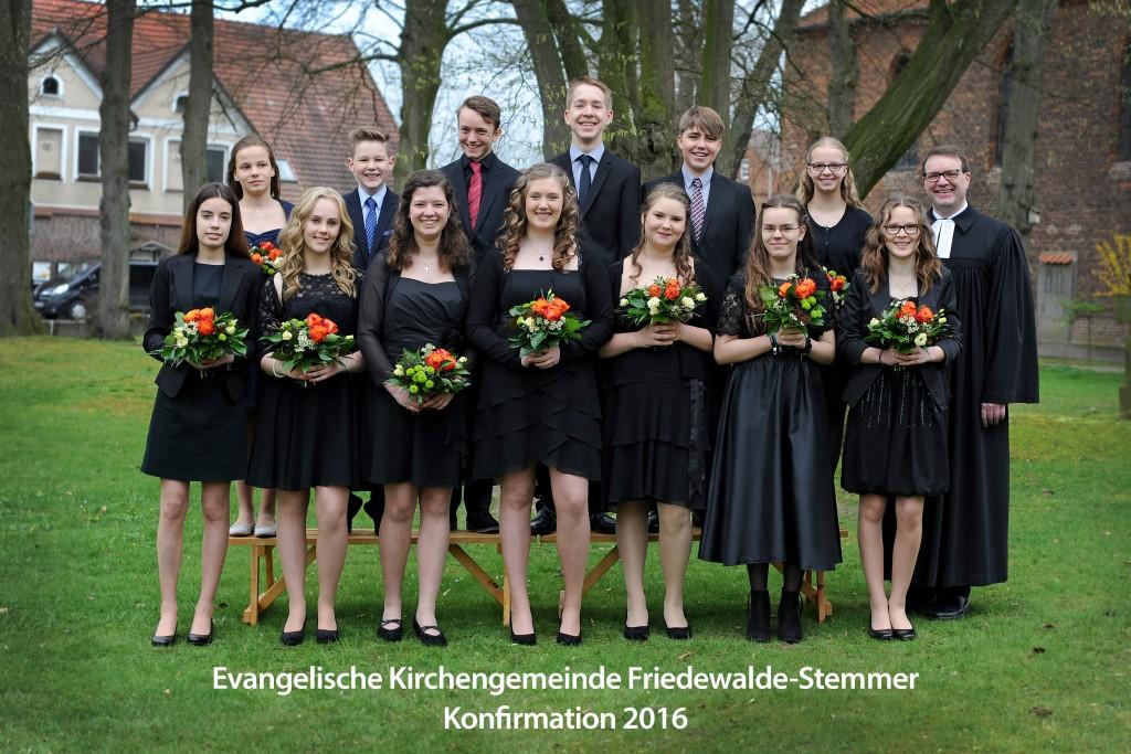 Evangelische Kirchengemeinde Friedewalde-Stemmer Konfirmation 2016. Foto Jürgen Krüger