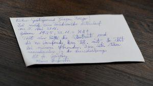 Postkarte: Anmeldung von Klaus Augustin aus Hiddenhausen für den 6. Friedewalder Mühlenlauf // Diplom-Volkswirt Jürgen Krüger, Lavelsloher Straße 31, 32469 Petershagen // Telefon 0049 1718389291 // Email: post@juergen-krueger.de // www.juergen-krueger.de