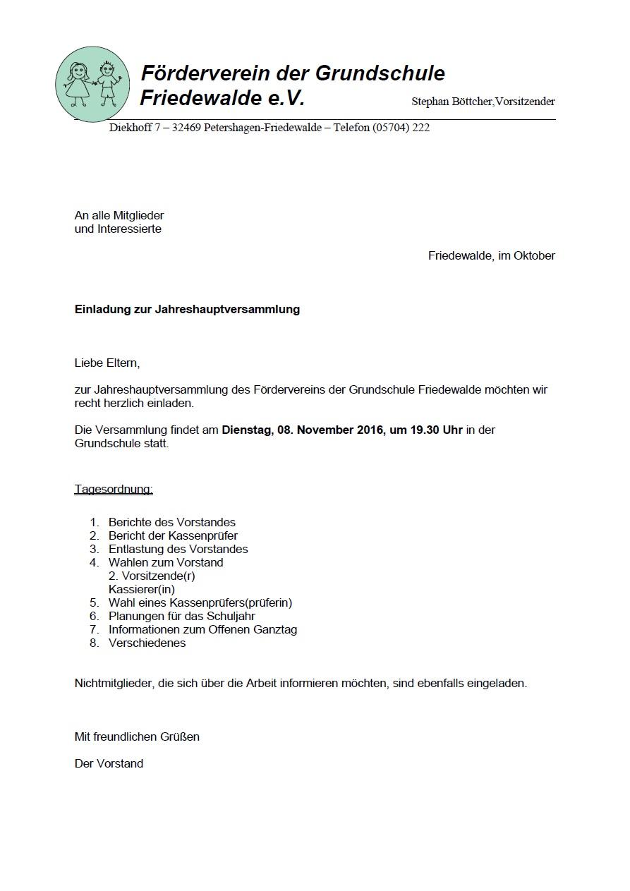Einladung JHV 2016 Förderverein GS Friedewalde