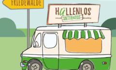 Das Bild zeigt einen Verkaufswagen vor einem Verkehrsschild mit Richtungsweisung nach Friedewalde